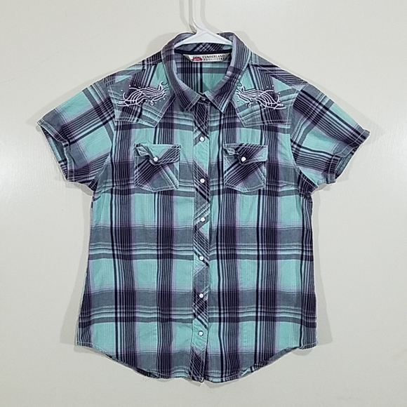 Girls Sleeveless Plaid Western Cowgirl Pearl Snap NWT Cumberland Outfitters M